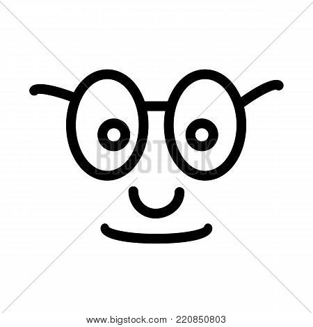 satisfied glad smiley face emoticon line art icon for apps and websites. vector icon, eps 10 poster