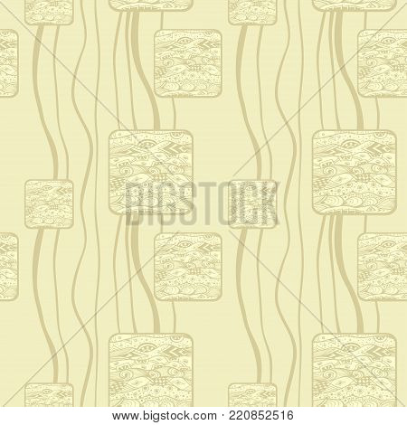 Abstract handmade Ethno Zentangle  seamless pattern   in beige for decoration package or for wallpaper and other things