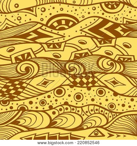 Abstract handmade Ethno Zentangle Zendoodle  background  in beige brown for decoration package or for wallpaper and other things