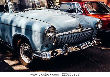 Moscow, Russia - July 13, 2013 - Detail of the old car GAZ M21 Volga (production 1956-1970 years) from collection of the film studio