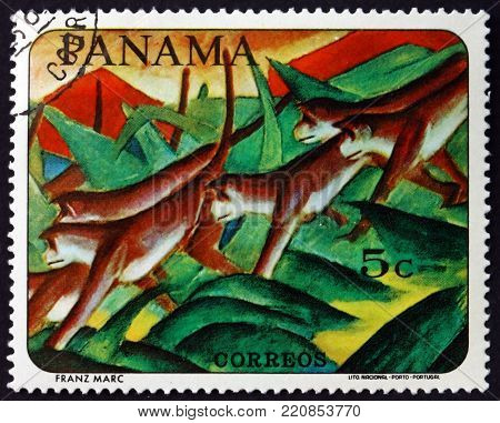 PANAMA - CIRCA 1967: a stamp printed in Panama shows Monkeys, animal painting by Franz Marc, German painter, circa 1967