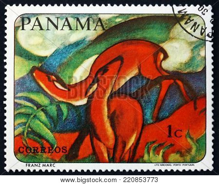 PANAMA - CIRCA 1967: a stamp printed in Panama shows Red deer, animal painting by Franz Marc, German painter, circa 1967