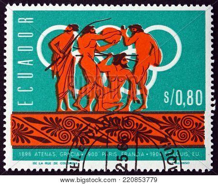 ECUADOR - CIRCA 1966: a stamp printed in the Ecuador shows discus and javelin, history of summer Olympics, circa 1966