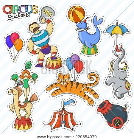 Circus cartoon icons collection with chapiteau tent and trained wild animals. Vector doodle stickers set