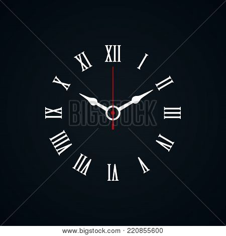 Roman numerals shaped minimal clock icon on black background.