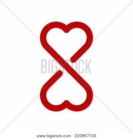 Infinity love symbol on white background. Lap streaked heart shapes.