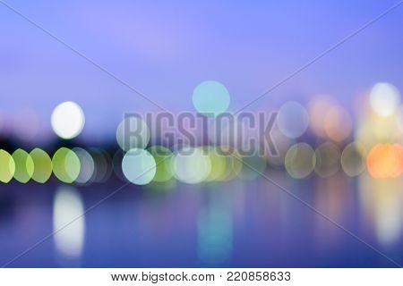 Abstract urban night light bokeh defocused background, city night at Bangkok city Thailand.