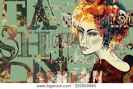 art colorful sketched beautiful girl face in mixed media style with red and black floral curly hair on green background with word fashion, style, model, design