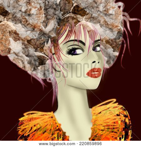 art colorful illustration with face of beautiful girl in profile with pink and grey floral pattern afro funky curly hair, in gold orange party dress on black background in mixed media style