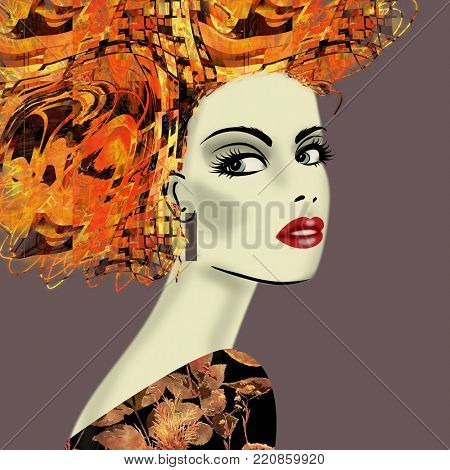 art colorful illustration with face of beautiful girl in profile with gold, orange and red floral pattern afro funky curly hair, in party dress on purple brown background in mixed media style