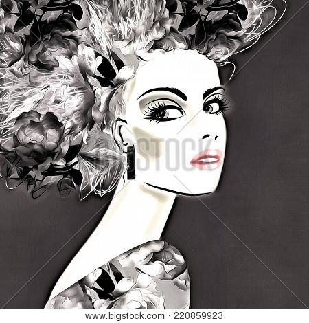 art monochrome illustration with face of beautiful girl with black floral curly hair, in party dress on grey background in graphic style