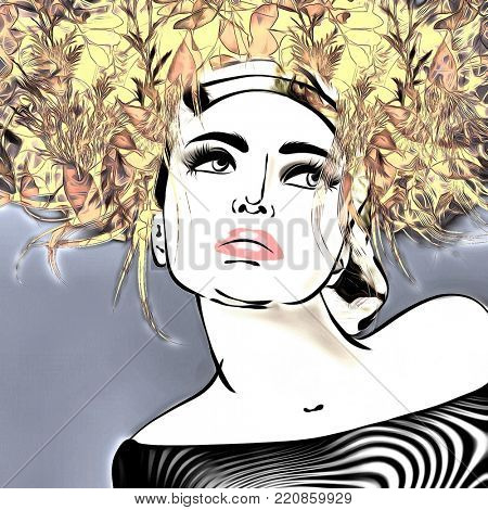 art colorful illustration with face of beautiful girl with gold yellow floral curly hair, in party dress on blue grey background in graphic style