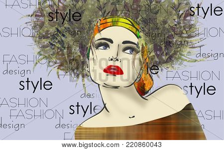 art colorful sketched beautiful girl face in mixed media style with floral curly hair on light lilac background with word fashion, style, model, design