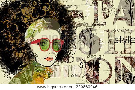 art colorful sketched beautiful girl face with glasses in mixed media style with black and gold yellow floral curly hair on sepia background with word fashion, style, model, design
