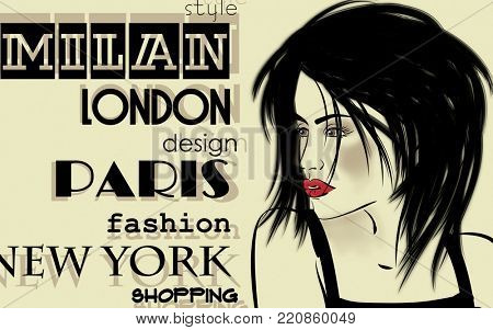 art colorful sketched beautiful girl face in mixed media style with black hair on sepia background with word fashion, style, model, design, Paris, Milan, London, New York
