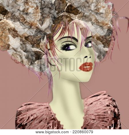 art monochrome warm pink and grey illustration with face of beautiful girl in profile with floral pattern afro funky curly hair, in party dress on pink background in mixed media style
