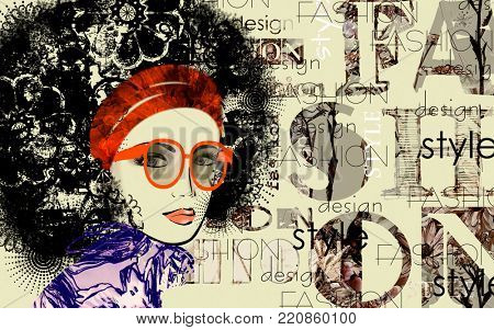 art colorful sketched beautiful girl face with glasses in mixed media style with black floral curly hair on sepia background with word fashion, style, model, design