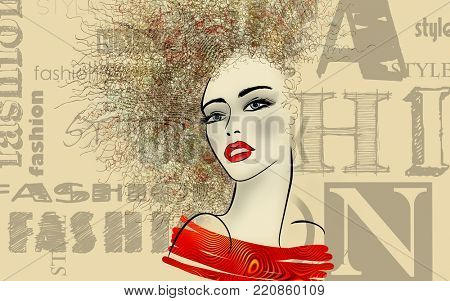 art colorful sketched beautiful girl face in mixed media style with floral curly hair on sepia background with word fashion, style, model, design