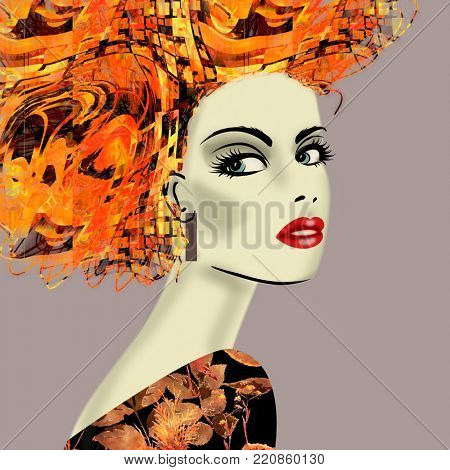 art colorful illustration with face of beautiful girl in profile with gold, orange and red floral pattern afro funky curly hair, in party dress on lilac background in mixed media style