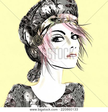 art colorful illustration with face of beautiful girl in profile with grey floral hat and short hair, in party flowers dress on light yellow  background in mixed media style