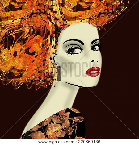 art colorful illustration with face of beautiful girl in profile with gold, orange and red floral pattern afro funky curly hair, in party dress on black background in mixed media style