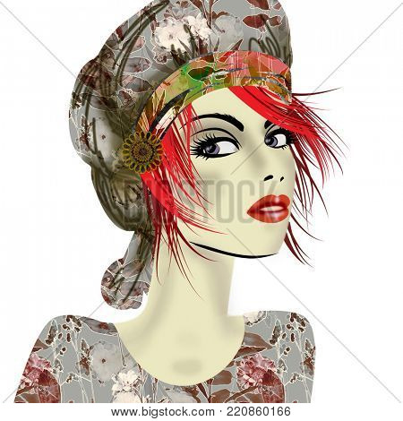 art colorful illustration with face of beautiful girl in profile with grey floral hat and red short hair, in party flowers dress isolated on white background in mixed media style