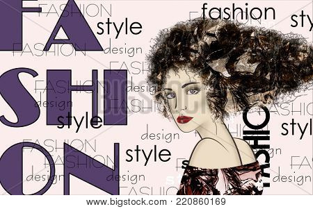 art colorful and monochrome sketched beautiful girl face in mixed media style with floral curly hair on light background with word fashion, style, model, design
