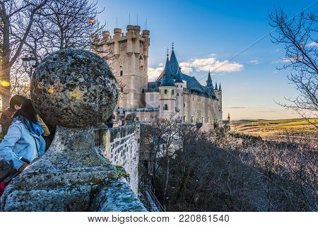 View from the walls of Segovia of the towers of the Alcazar and the Castilian plains Spain