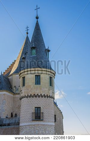 Detail of tower of the Alcazar of Segovia with its windows and balconies Community of Castilla y Leon Spain