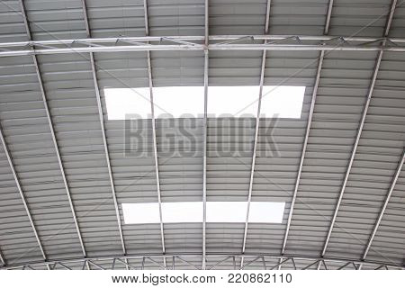 Structure Of Metal Ceiling System For The Indoor Stadium With A Transparent Metal Sheet.