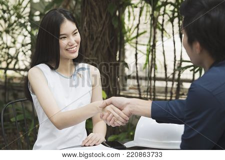 Hand shake between two businesspeople, success, dealing, greeting and partner concept.