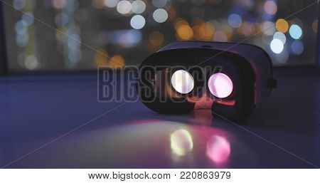 Virtual reality device playing movie inside