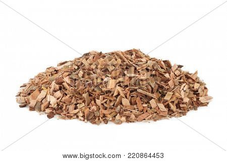 White willow bark herb used in alternative herbal medicine and has pain relieving and anti inflammatory properties and is similar to aspirin in its effects, on white background. Salix alba.