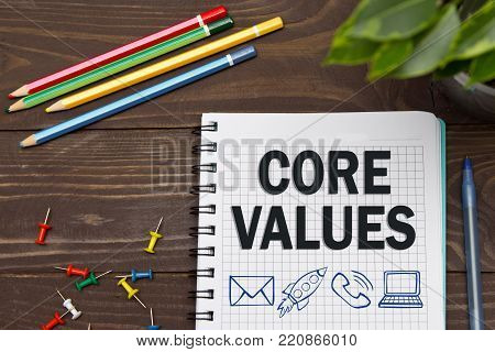 Notebook With A Business Notes Core Values On The Office Table With Tools. Concept Core Values With