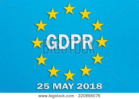 The businessman chooses the GDPR on the touch screen .General Data Protection Regulation concept may 25, 2018.