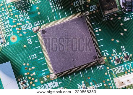 Computer Chip On Green Electronic Circuit Board Or Printed Circuit Board-pcb With Electronic Compone