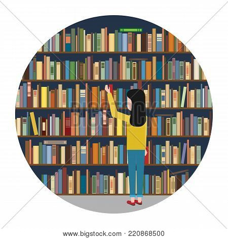 The girl reaches for the book in the background of the bookshelves. Vector illustration.