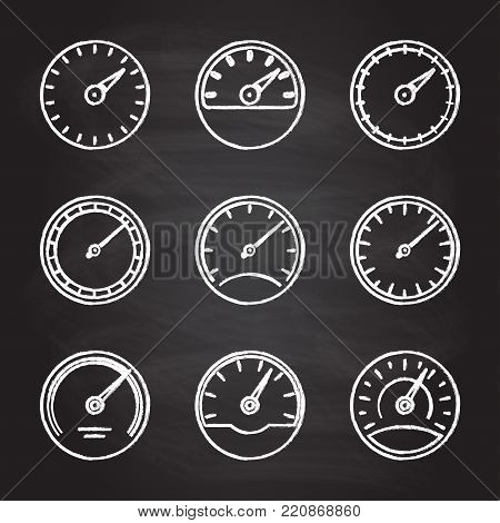 Speedometer and meter icon set isolated on blackboard texture with chalk rubbed background. Dashboard outline signs. Vector illustration.