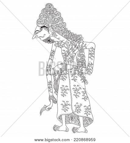 Kanwa, a character of traditional puppet show, wayang kulit from java indonesia.