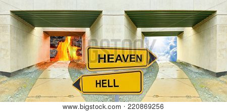 Two gates to heaven and hell. Choice concept.
