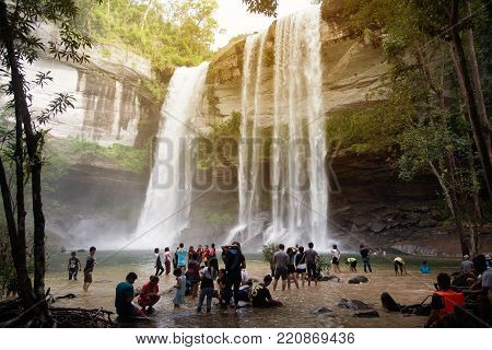 UBON RATCHATHANI, THAILAND- AUG 27 , 2016 : Travelers come and relax on holidays at Huay Luang waterfall is located inside the Phu Chong Na Yoi National Park which is in the Northeastern of Thailand.