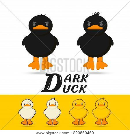 couple cute cartoon yellow  duck,white duck , black duck on white background vector illustration