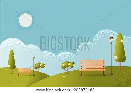 Hello Park. Natural landscape flat modern linear style. a beautiful park. Environmentally friendly natural landscape,Vector texture style concept illustration.