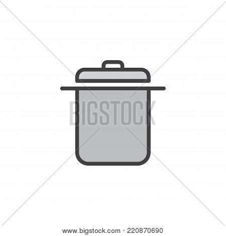 Saucepan filled outline icon, line vector sign, linear colorful pictogram isolated on white. Casserole symbol, logo illustration. Pixel perfect vector graphics