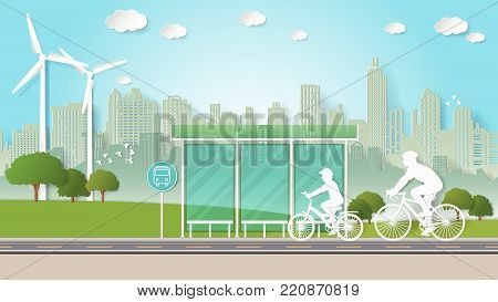 Paper folding art origami style vector illustration. Renewable energy ecology technology power saving environmentally friendly concepts. Family are riding bicycle through bus stop in green city parks.