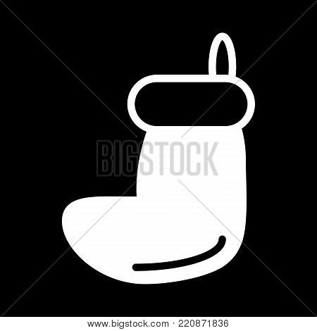 Christmas sock icon isolated on black background. Christmas sock vector logo. Flat design style.
