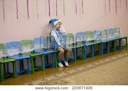 Belarus, Gomel, December 27, 2017. Children's holiday in kindergarten. The child cries at the feast. The boy is crying in the kindergarten