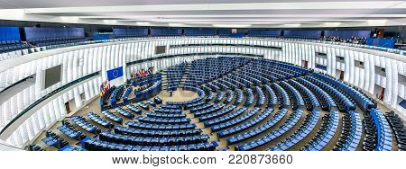 Strasbourg, France - December 5, 2017: The Hemicycle, the Plenary hall of the European Parliament