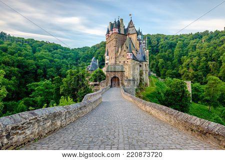 Burg Eltz castle in Rhineland-Palatinate state, Germany. Construction starte prior to 1157.