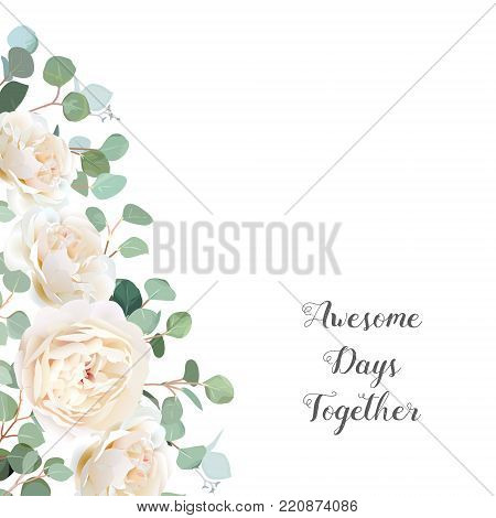 Creamy white roses and silver dollar eucalyptus branches vector design frame. Cute rustic wedding greenery banner. Mint, blue tones. Watercolor style border. All elements are isolated and editable